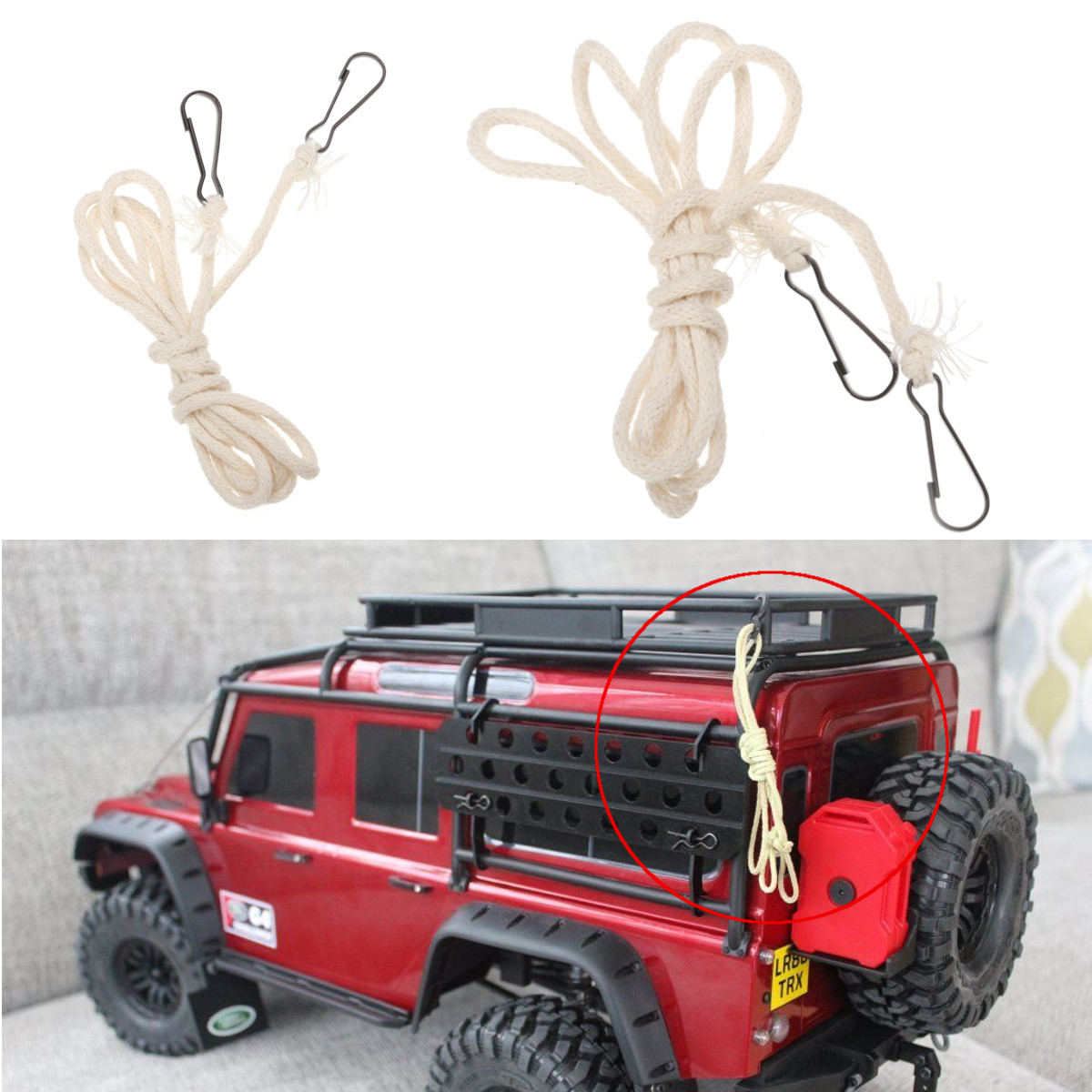 1PC Limb Hemp Towing Rope With Hook For &LandroverD110 Scale Crawler Rc Car Parts Model Car Accessories String Decoration