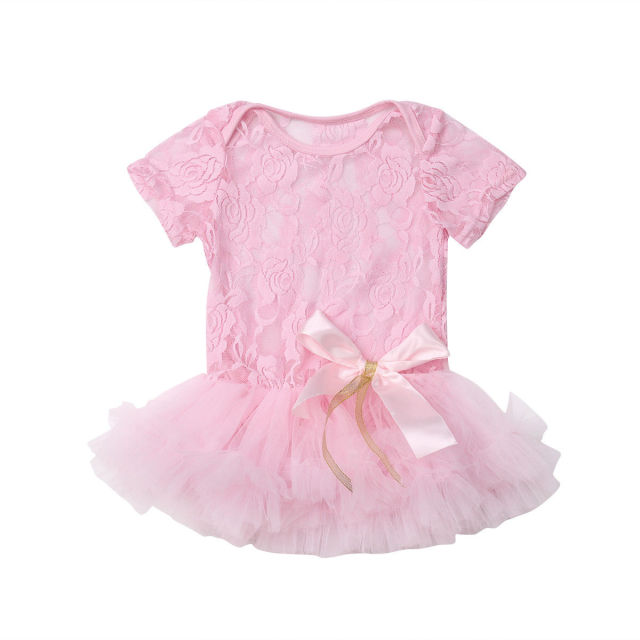 fd4cfb9362c4 0-9M Infant Newborn Baby Girl Princess Short Sleeve Lace Tutu Skirted Romper  Jumpsuit Outfits Formal Dress Clothes