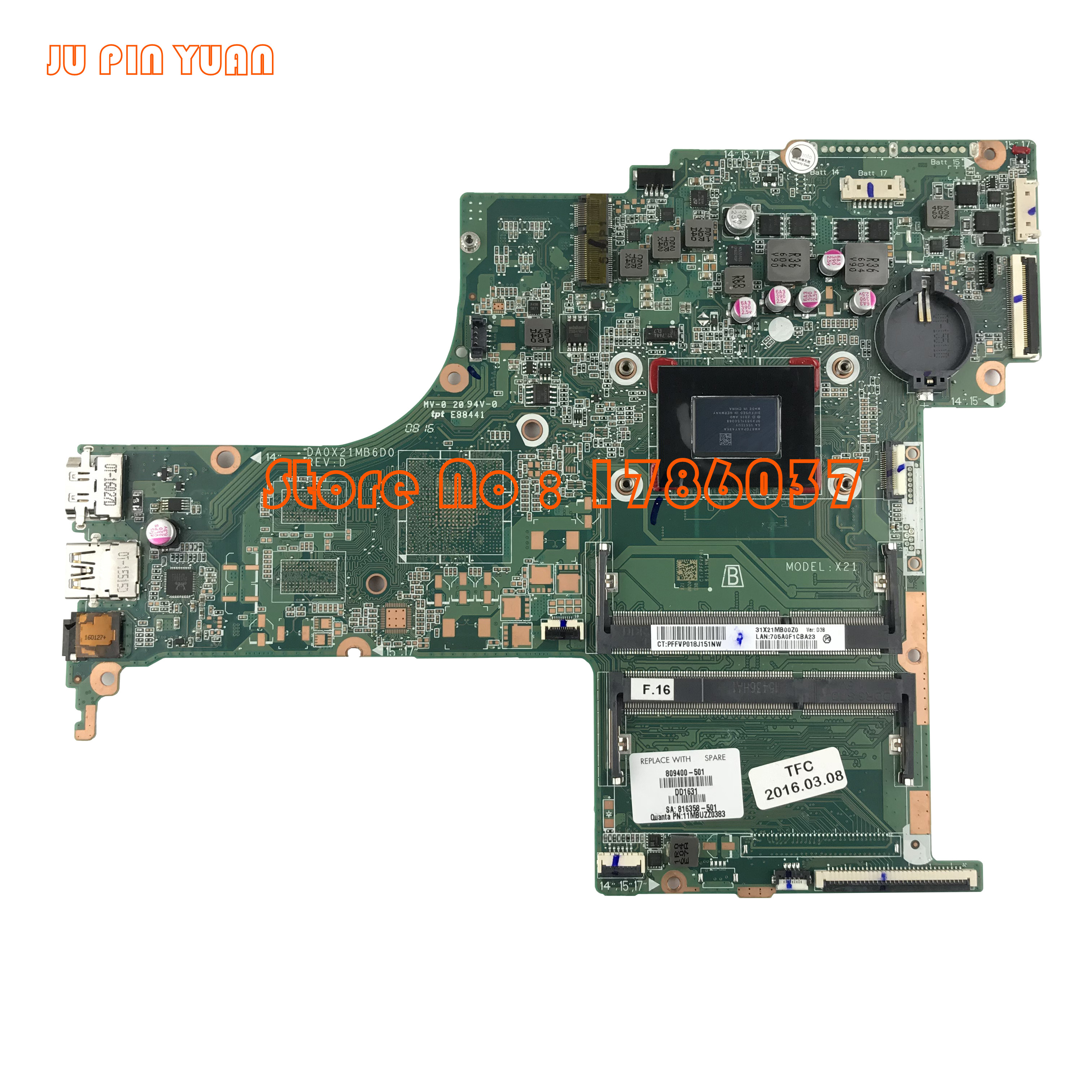 JU PIN YUAN 809400-501 809400-601 DA0X21MB6D0 X21 for HP - 컴퓨터 구성 요소