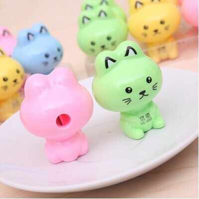 Ellen Brook 1 Piece Lovely Cute Kawaii Candy Color Rabbit Cat Sharpeners Korean Stationery School Office Supply Novelty Kid Gift