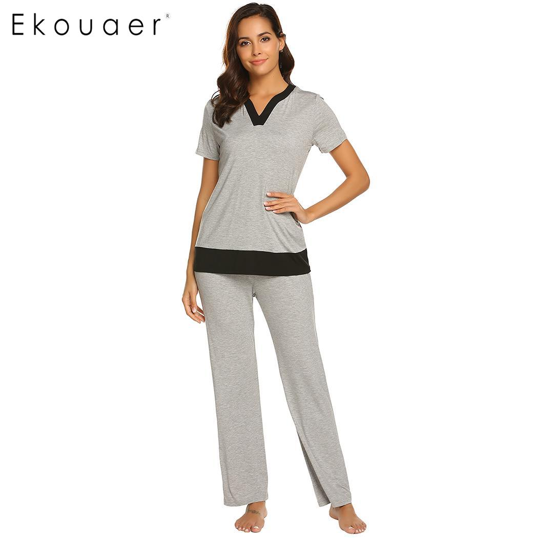 Ekouaer Women   Pajamas   Sleepwear   Set   Casual V-Neck Short Sleeve Patchwork Tops And Long Pants Nightwear   Pajama     Sets   Homewear