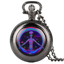 Прохладный Красочные таинственный чужой для мужчин часы Новинка 2019 года кварцевые карманные часы мужское ожерелье с подвеской Винтаж