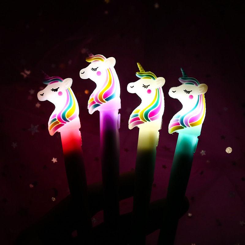 Kawaii Unicorn Pens Lovely Light Led Gel Pen Novelty Neutral Pens For Kids Girls Gift School Office Supplies Creative Stationery