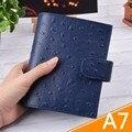 Anéis de Couro genuíno Notebook A7 Tamanho Pasta de Bronze Mini Agenda Organizador de Couro Diário Sketchbook Jornal Planejador Bolso Grande