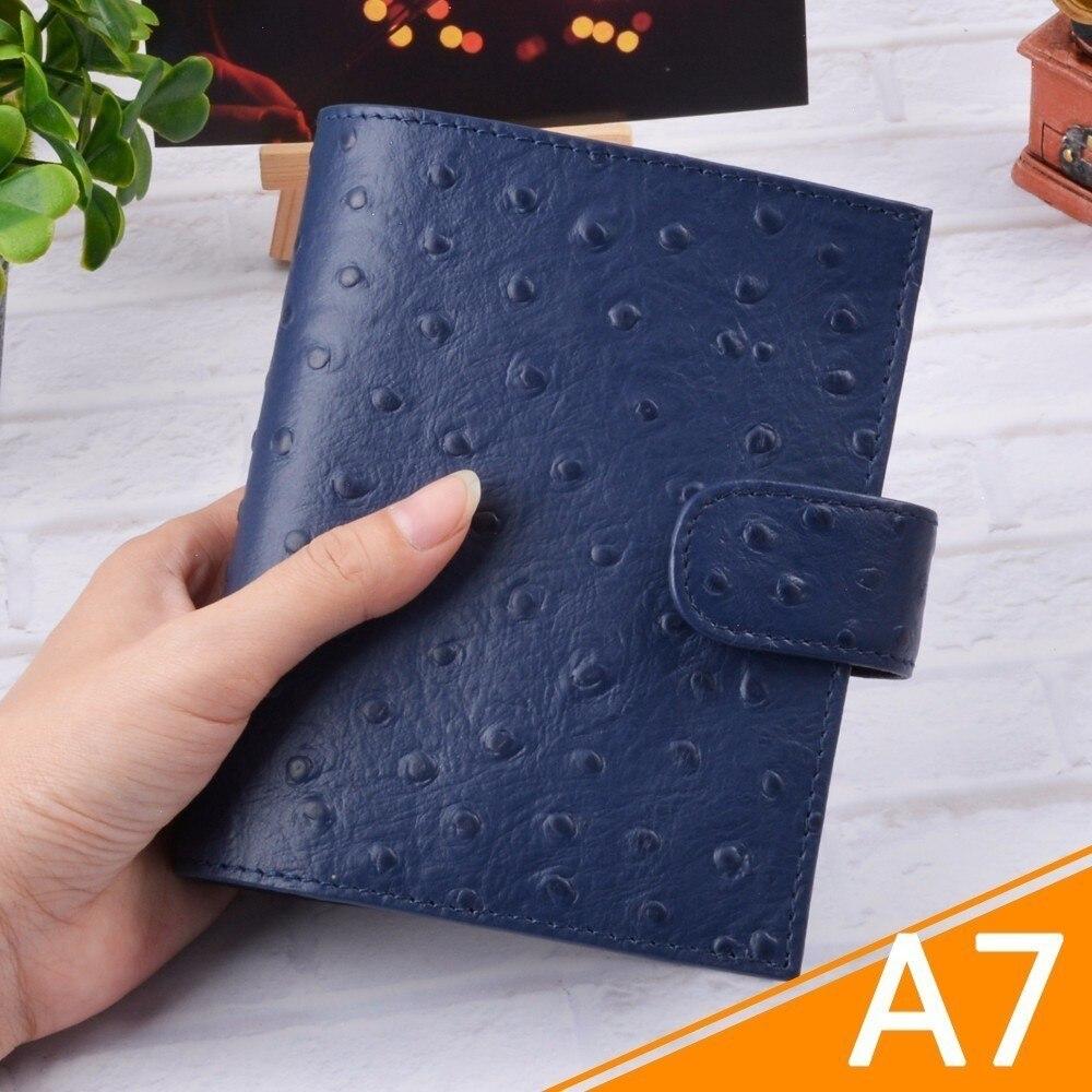 De cuero genuino anillos cuaderno A7 tamaño latón carpeta Mini del organizador del Programa de piel de vaca diario Sketchbook planificador Bolsillo grande