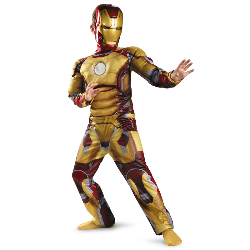 Hot Genuine Kids Avengers Iron Man Mark 42 / Patriot Muscle Child Halloween Costume Boys Marvel Movie Superhero Cosplay Clothing