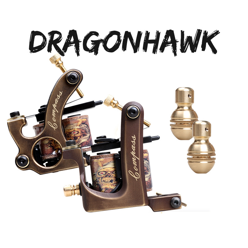 Professional Handmade Tattoo Machine 10 Wrap Coils Copper Frame Custom Tattoo Gun For Shader Or Liner Tattoo Supplies