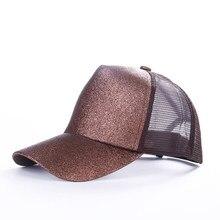 2018 nuevo brillo de cola de caballo de gorra de béisbol lentejuelas  brillante de alta calidad de moda mujer desordenado bollo a. 150392e61ae