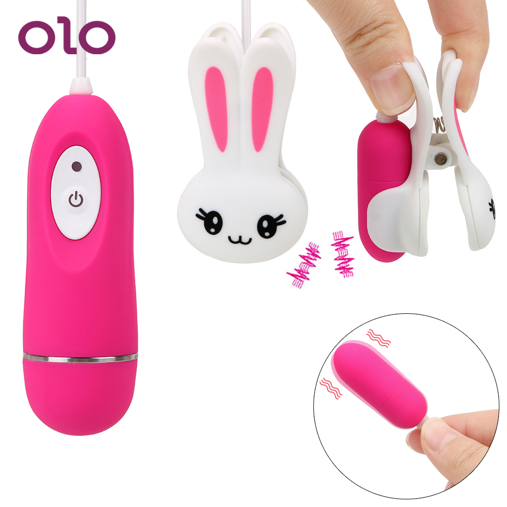 OLO 10 Speeds Vibrator Nipple Clip Clamps Breast Massage Clitoris Clip Clitoral Stimulation G Spot Sex Toys For Women Cute