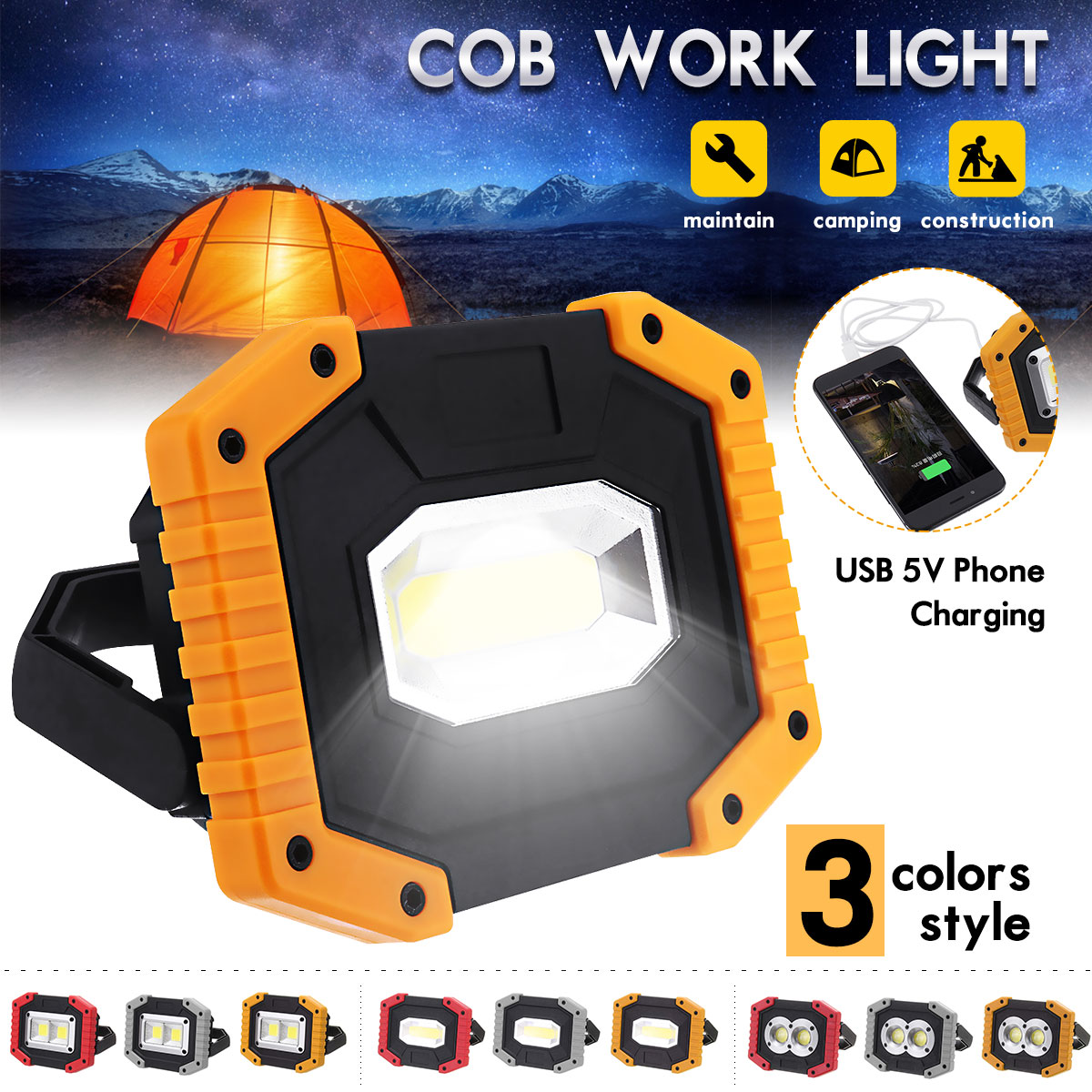 Waterproof 30W LED Light Camping Car Rechargeable Work Torches USB Charging Lamp