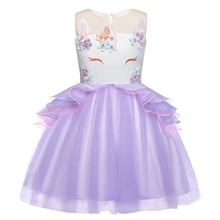 AmzBarley Girls Unicorn Tutu Dress Ruffle Tulle Baby Kids Birthday Outfit Princess Party Costume 2-14Years