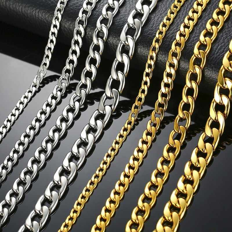 """Men's Necklace Round Miami Cuban Link Chain Gold and Silver Tone Stainless Steel Punk Boy Male Colar Gifts 24"""""""