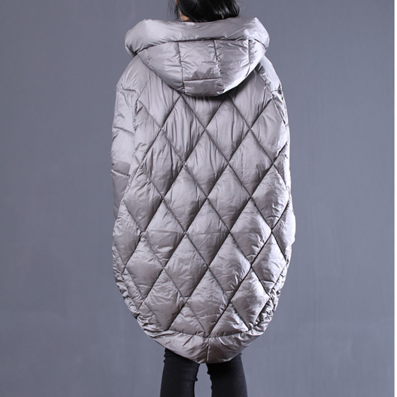 Irrégulière Taille Surdimensionnée Capuche 2018 Yf17102 Manteau Veste À Nouvelle Jaqueta Coton Feminina Grande Femelle Lanmrem D'hiver Gray De Mode nqYIIR