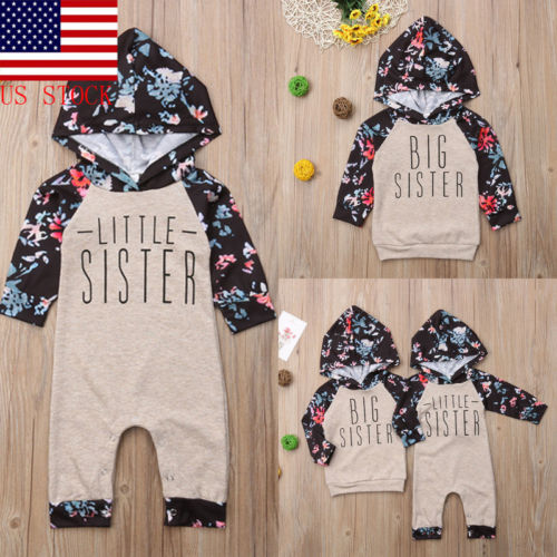 Match Outfits Sweatshirt Sister Baby-Girl Romper Kids Cute Toddler Tops Hooded Floral