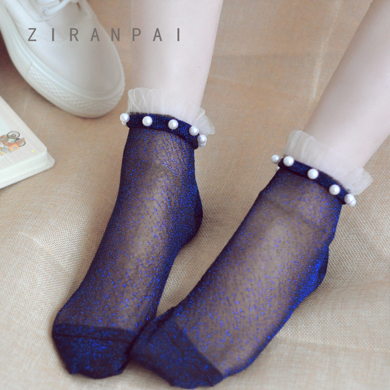 Sexy Lace Mesh Silk Fishnet Socks Fiber Transparent Stretch Elasticity Ankle Net Yarn Thin Women Cool Socks 1pair=2pcs Ws410