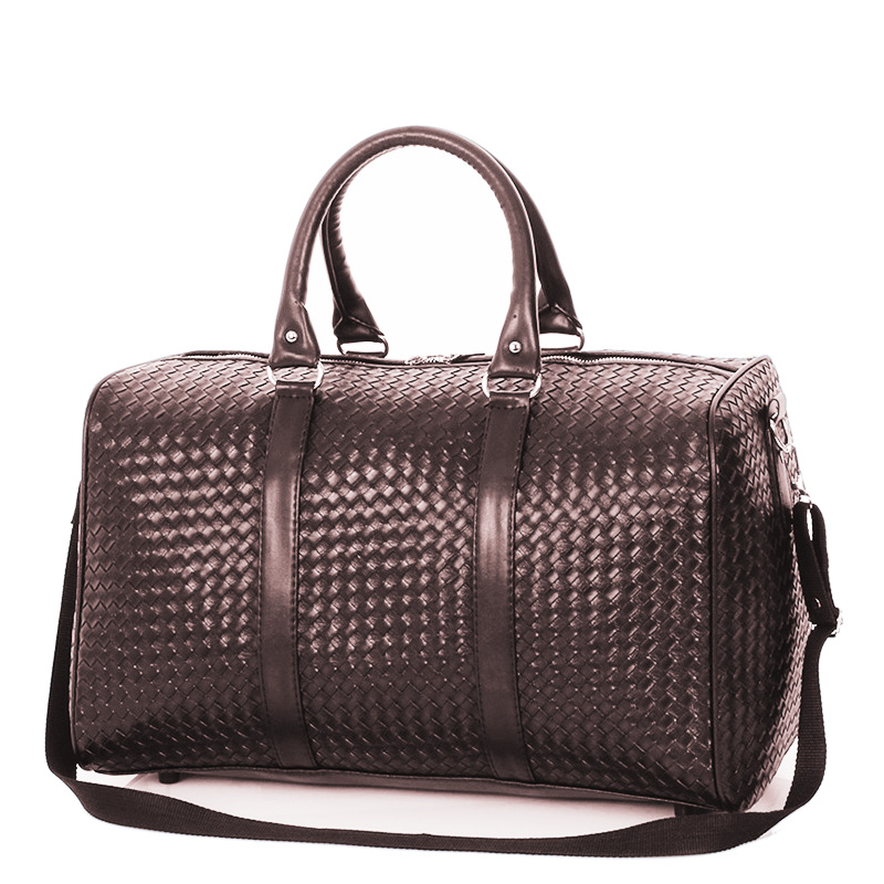 Classical Weaving Duffel Gym Bags Leather Women Men Large Capacity Travel Luggage Bag Fitness Handbag Shoulder Bag Black Bags
