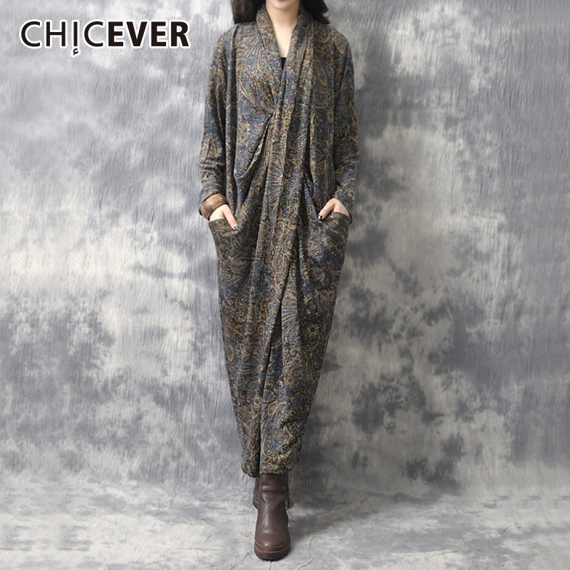 CHICEVER Autumn Dresses Of The Big Sizes V Neck Long Sleeve Criss cross Loose Knitting Long