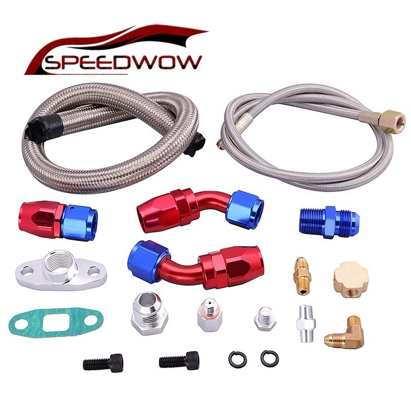 Obedient Speedwow Turbo Oil Feed Line Return Drain Kit And Feed Line For T3 T4 T04e T60 T61 Complete Kit An10 Oil Drain Line Car Parts Fuel Supply & Treatment Automobiles & Motorcycles