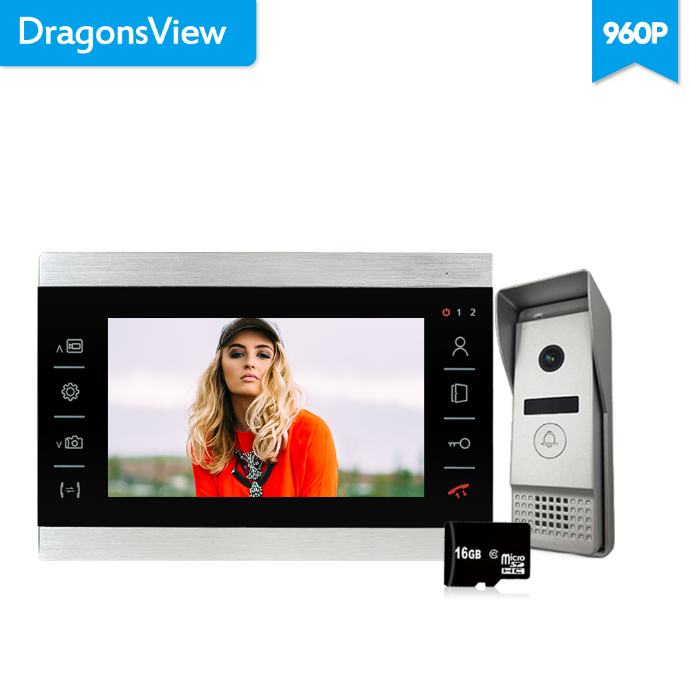 Dragonsview 7 Inch 960P  Video Door Phone Doorbell Camera Intercom System  Waterproof  Infrared Day Night Vision Record 130°