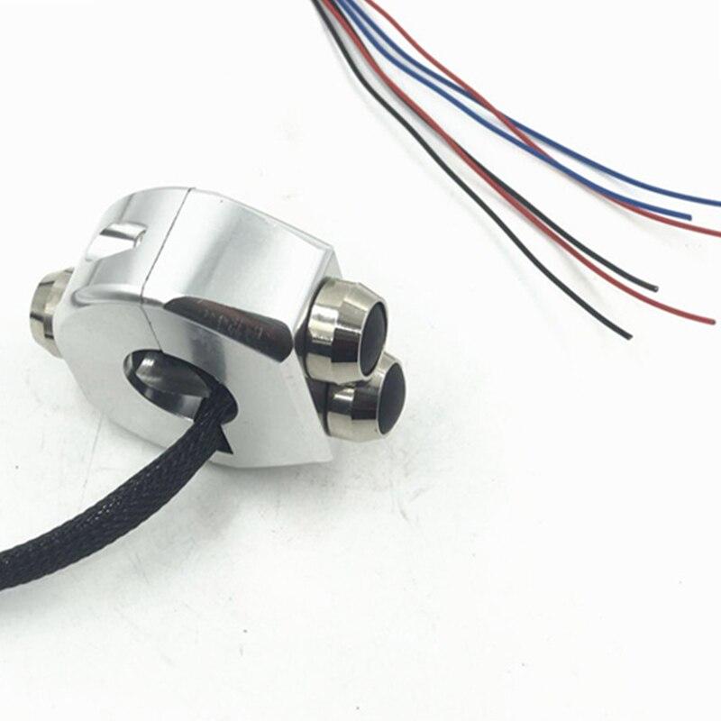 Universel 3 boutons auto-verrouillage moto interrupteur poignée poignées réinitialiser momentané boutons CNC en alliage d'aluminium pour Honda Yamaha