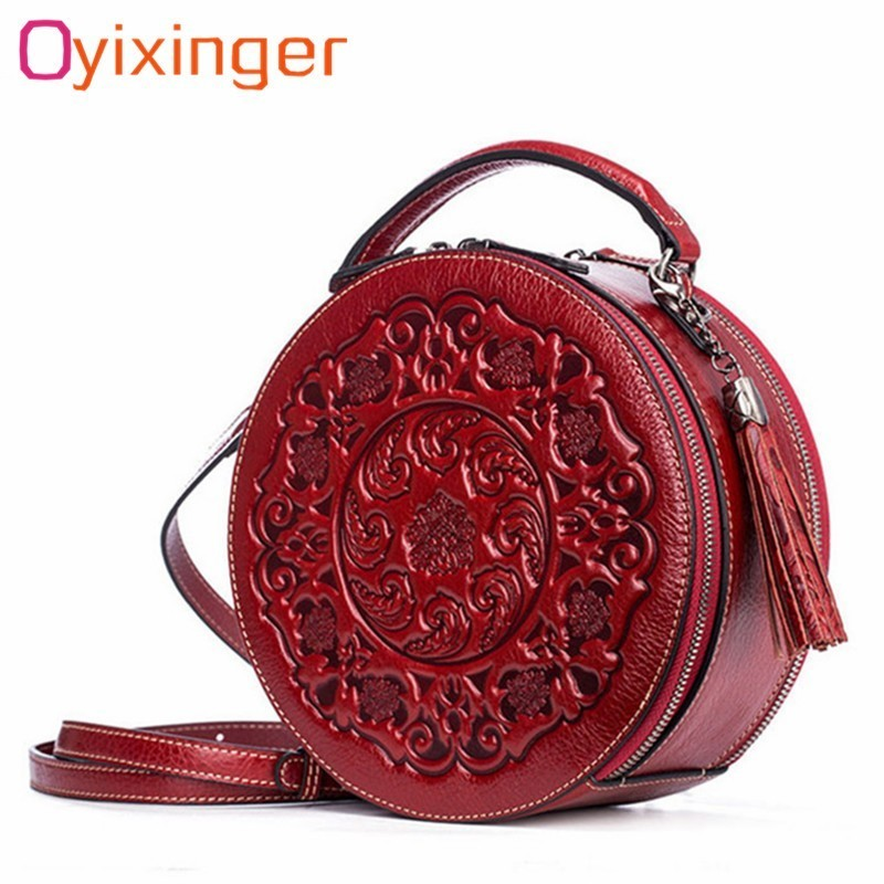 Genuine Leather Handbags For Women Chinese Style Vintage Printing Tassel Circular Bag Soft Handbag For Girls Leather Hand BagsGenuine Leather Handbags For Women Chinese Style Vintage Printing Tassel Circular Bag Soft Handbag For Girls Leather Hand Bags