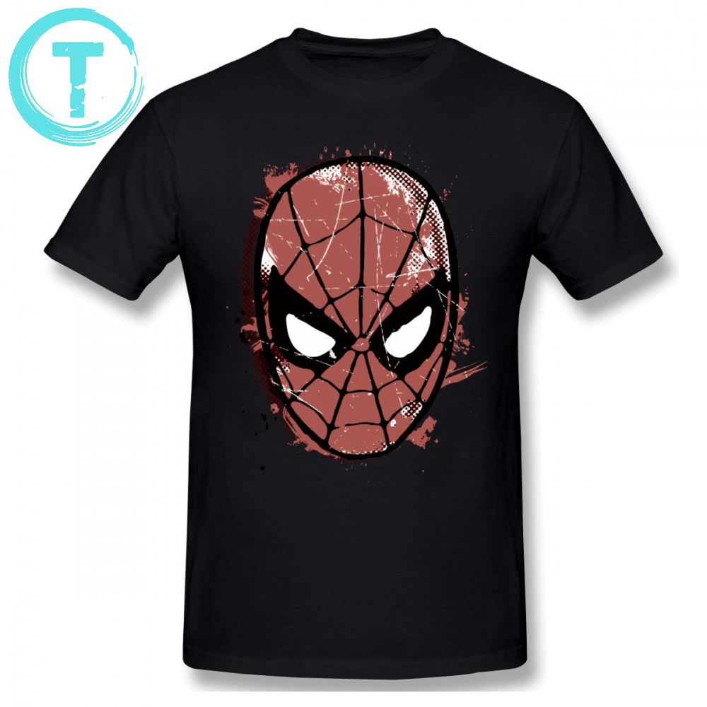 Spiderman T Shirt The Amazing Spider-Man Retro Comic Halftone Head T-Shirt Male Short Sleeves Tee Shirt Plus Size Tshirt