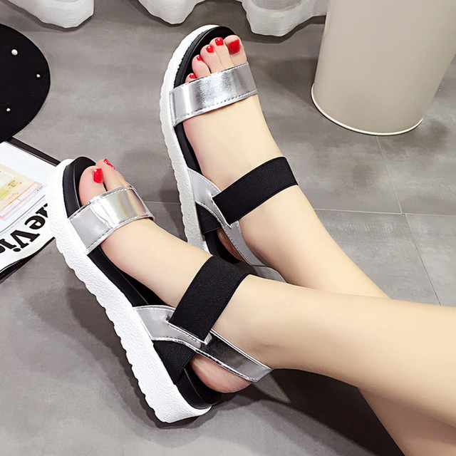 8f0a502a9 Hot Sale Sandals Women Summer Slip On Shoes Peep toe Flat Shoes 2019 New  Roman Sandals Mujer Sandalias Ladies Flip Flops Sandal-in Women s Sandals  from ...