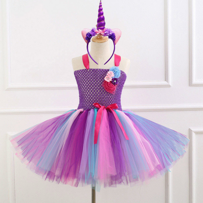 Halloween Christmas Cosplay Costume Kids Clothes Unicorn Girls Dresses Childrens Princess Dresses Fancy Party Clothing 5 Style