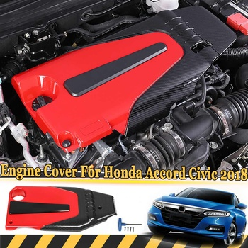ABS Carbon Fiber Color Auto Engine Cover Bonnet Hood Soundproof   For Honda For Civic 2016 2017 2018 For Accord 10th 2018