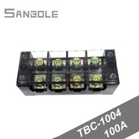 Terminal Block TBC-1004/TB-1004 Fixed Type 100A 600V 4 Position 0.5-25mm2 Connection Electrical Copper