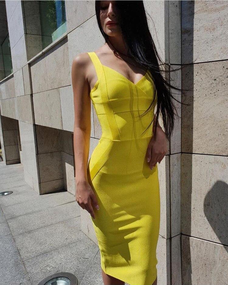 High Quality Yellow Green Red Bodycon To Knee, Artificial Silk Бандажное Dress Evening Dress