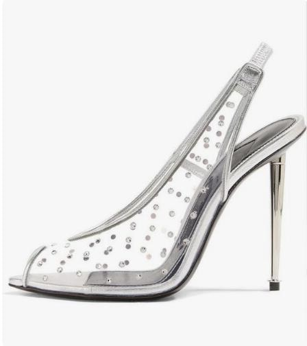 New Arrivals Crystal Embellished Metallic Slingback Pump Peep Toe Covered Stiletto Heel Wedding Shoes Bride Black White Pumps in Women 39 s Pumps from Shoes