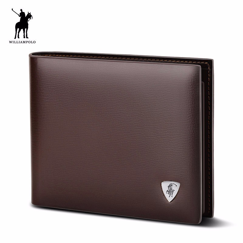 WilliamPOLO 2017 Fashion Cow Leather Slim Wallet Small Wallet Designer Money Purse High Quality Leather Wallet Brown #147 gothic skull cross rivet cow leather double fold wallet brown