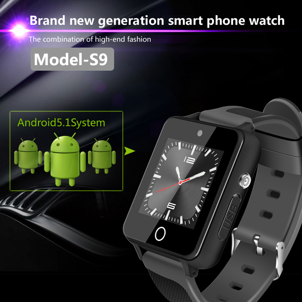 цена на ZGPAX S9 3G Smart Watch Android 5.1 Watch Phone Recording Function RAM 1G+ROM 16G WiFi GPS SIM Quad Core BT4.0 Smartwatch