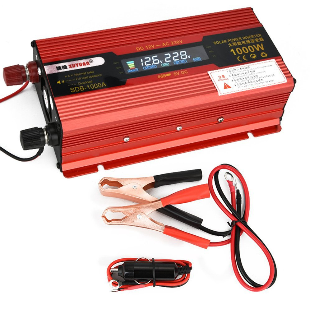 XUYUAN Car Inverter DC12V 50Hz Red Power Converter Inverter With Display Screen With USB Port Cooling Fan System