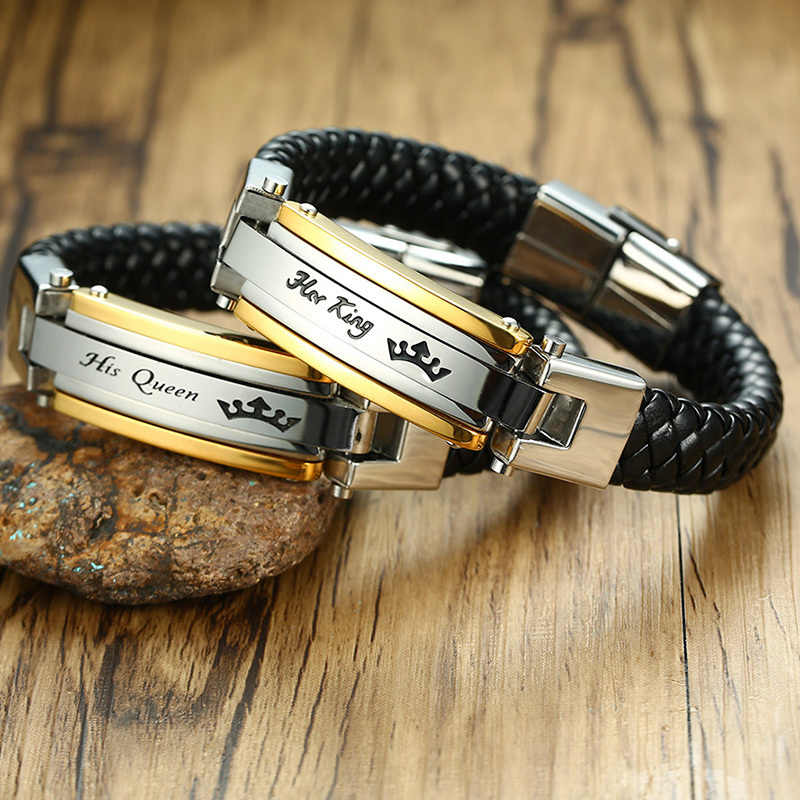 Braid Couples Leather Bracelet For Men Women Stainless Steel King Queen For Her His Braslet Lovers Jewelry