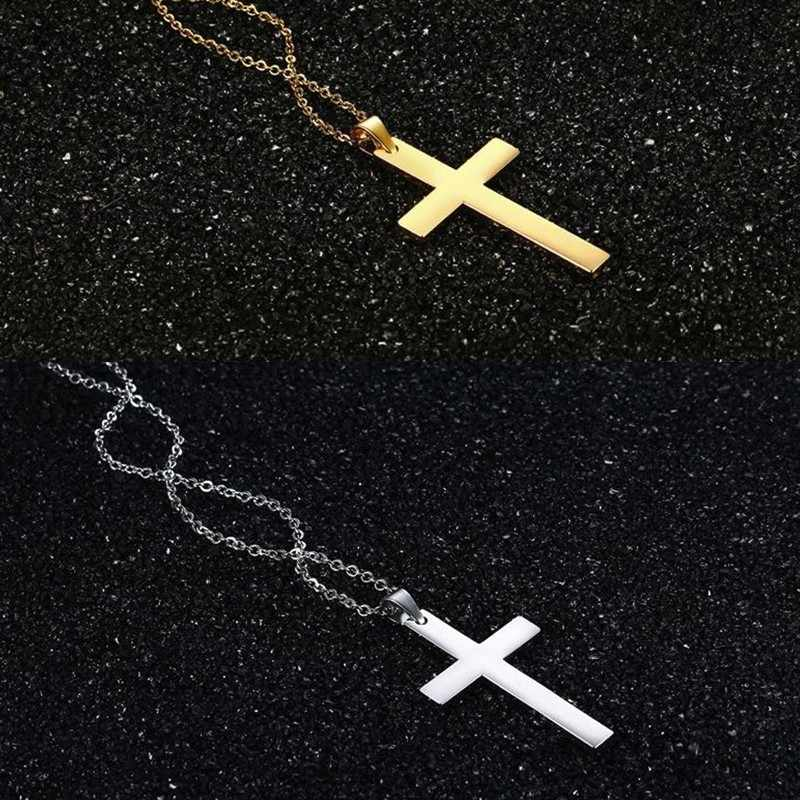 Vnox Simple Plain Cross Pendants for Women Men 316L Stainless Steel Classic Religious Christ Prayer Faith Necklaces