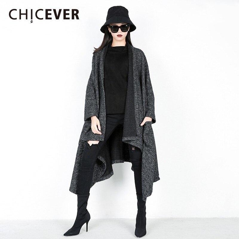 CHICEVER Autumn Winter Knitted   Trench   Coat For Women Lapel Long Sleeve Loose Oversize Asymmetric Hem Windbreaker Fashion Tide