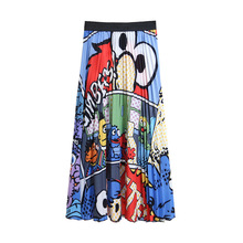 Fashion New 2019 Spring Skirts Women Long Maxi Skirt Female Cartoon Comic Pattern Colorful A Line High Waist Pleated Skirts