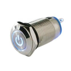 1Pcs Silver Waterproof Stainless Steel Metal Push Button Switch With LED Light 12V 24V Self-locking