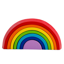 rainbow building blocks mini version Colorful arched building blocks rainbow blocks Children's baby wooden stack high toys