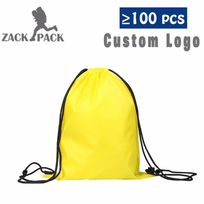 NEW Custom Logo Sports Waterproof Cotton Drawstring Backpack Pull Rope printing logo gymsack Female Students School Mochila DB10