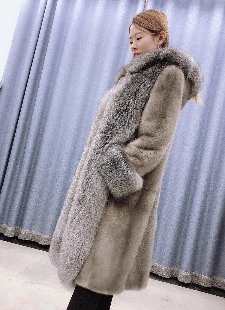 Col Manteaux Silver Naturelle M Naturel De 1 Capot Manteau Fox Femmes Vison Argent Fourrure Hiver Longue Réel C175 7U6n1nY