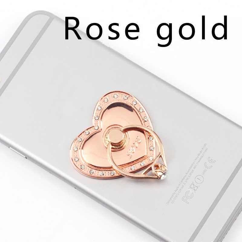 حامل هاتف دائري حجر الراين المعادن الهاتف قوسين القلب على شكل كسول حامل هاتف المحمول ل فون X XS سامسونج هواوي Xiaomi