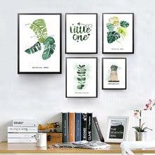 Green Style Plant Nordic Плакаты и Принты Акварельные Листья Wall Art Декоративная Картина