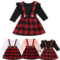 0-4Y Criança Crianças Bebê Menina Manga Longa de Algodão T-shirt Tops de Xadrez Vermelha Saia Suspender 2 pcs Outfits Roupas Da Princesa Meninas conjunto