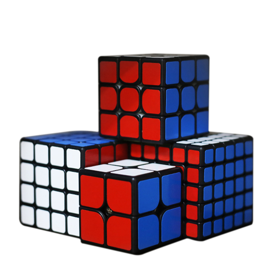 Shengshou Mr M 2x2x2 3x3x3 4x4x4 5x5x5 Cube magique magnétique Set avec boîte d'emballage pour enfant adulte cadeau présent-noir