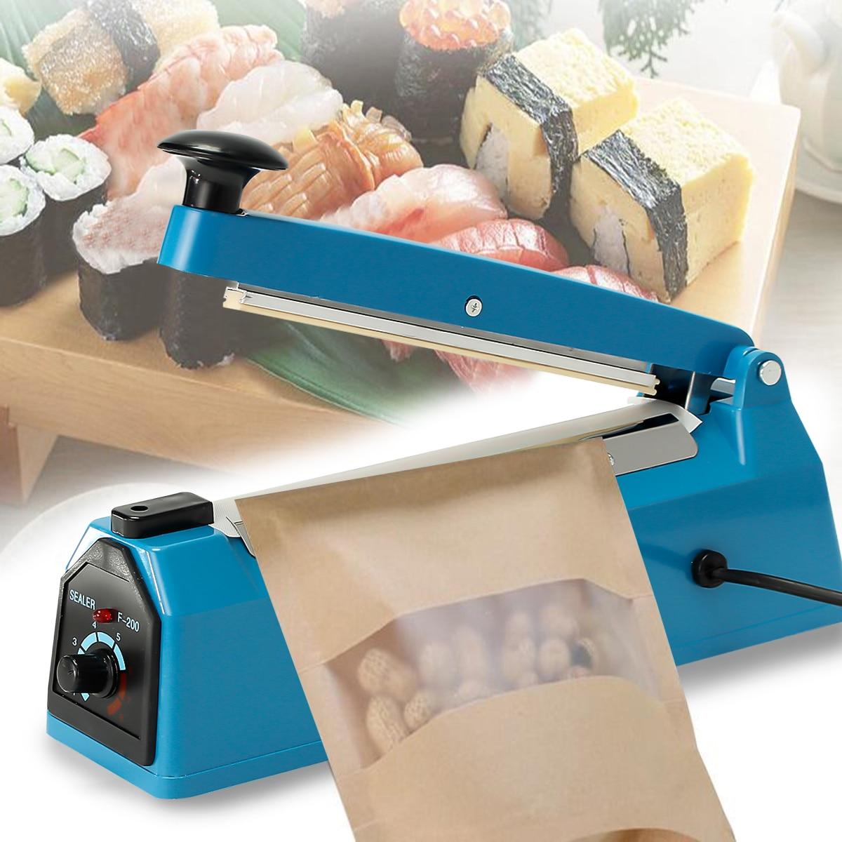 Impulse Heat Sealer Electric 200mm Plastic Poly PP PE Bag Hand Sealing Machine EU Plug for PE PP Bags Timer Settings 220v kitche
