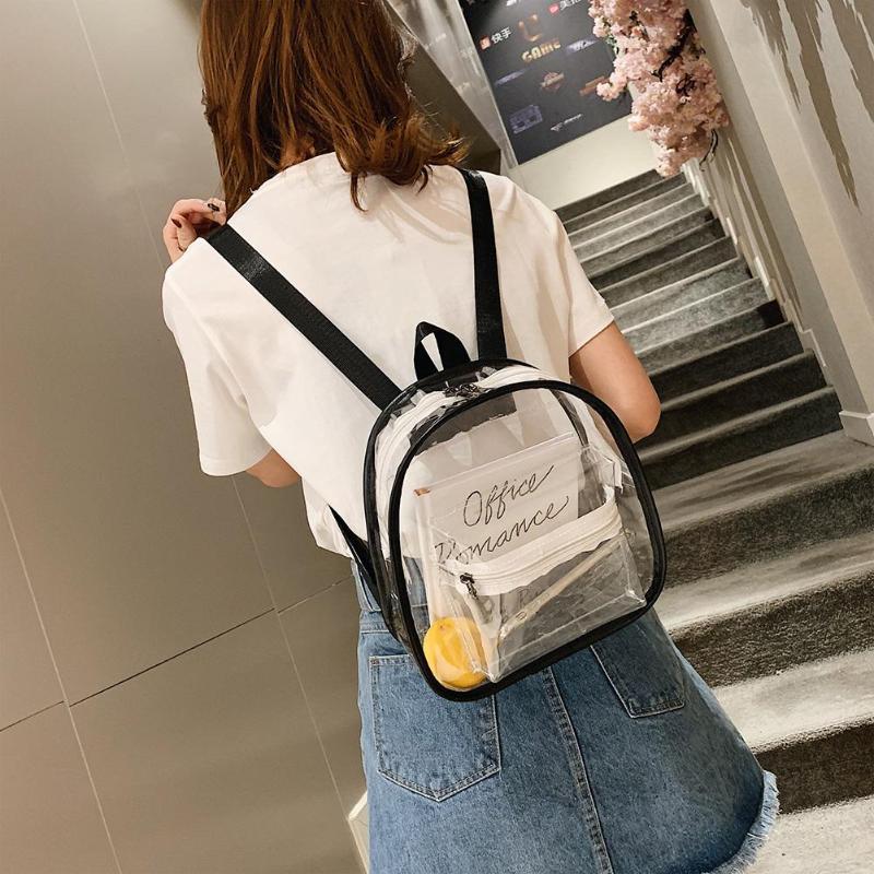 Women PVC Satchel Backpacks School Bags Travel Casual Teenage Girls Transparent Small Shoulder Bags Fashion Clear Backpacks