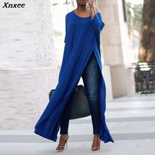 S-5XL Xnxee Autumn Elegant Women Off Shoulder 3/4 Sleeve Solid Long Shirt Vestido Ladies Work OL Blouse Party High Split Blusas